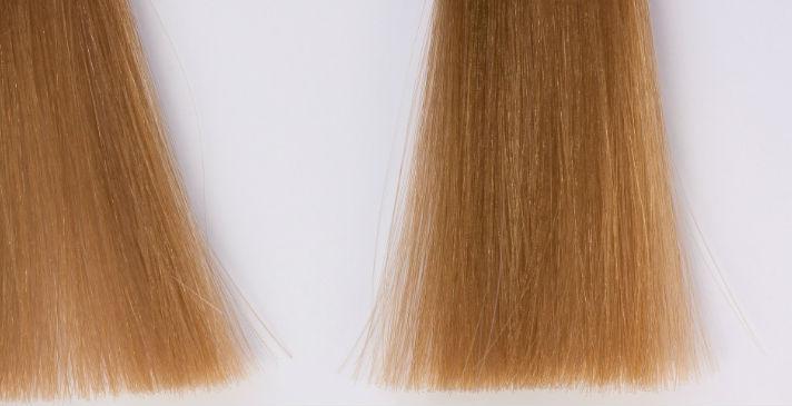 明るく染めた髪の毛